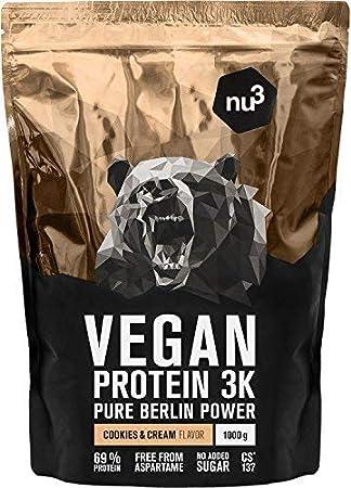 nu3 - Proteína vegana 3K - 1kg de fórmula - 69% de proteína a base de 3 componentes ...