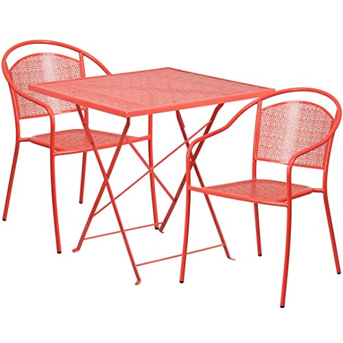 MFO 28'' Square Coral Indoor-Outdoor Steel Folding Patio Table Set with 2 Round Back Chairs