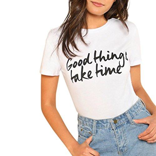 Han Shi Blouse, Fashion Women Plus Size Letter Print Tees Short Sleeve T Shirt (White, 2XL)