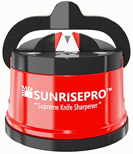 SunrisePro Best Kitchen Knife Sharpener For Straight And Serrated Knives, Hands-Free, Safe For Family, Required No Skills, Space Saver, US patented, Red