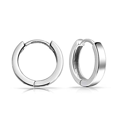 89dfb3351 Amazon.com: Simple Basic Thin Flat Huggie Hoop Kpop Earrings For Women For  Men Hinge Polished 925 Sterling Silver: Jewelry