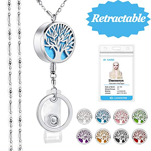 (SAM & LORI Strong Lanyard Necklace Stainless Steel Beaded Chain Necklace Silver for ID Badge Holder and Key Chains Non Breakaway Inspirational Charm Pendant for Women Retractable Diffuser Tree of life)