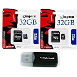 2 Pack of Kingston 32GB MicroSD HC Class 4 TF MicroSDHC with SD Adapter TransFlash Memory Card SDC32/32GB 32G 32 GB Gigs (Lot of 2) with Everything But Stromboli Memory Card Reader R