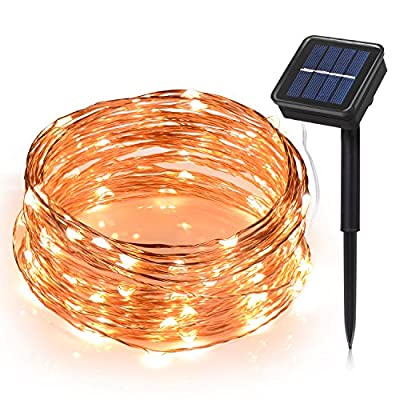 Toplus Solar String Lights, 8 Modes 100 LED 33ft Copper Wire Lights, Starry Fairy String Lights Waterproof Ambiance Lighting for Outdoor, Patio, Gardens, Party, Solar Christmas Lights (Warm White) by Toplus