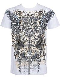 Sakkas Sword and Griffin Metallic Silver Embossed Cotton Mens Fashion T-shirt