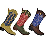 AOLOSHOW Western Cowboy Boot Christmas Stocking 18'' Gift Kids Fireplace Decor with Embroidered Patern 3pcs with Discounts