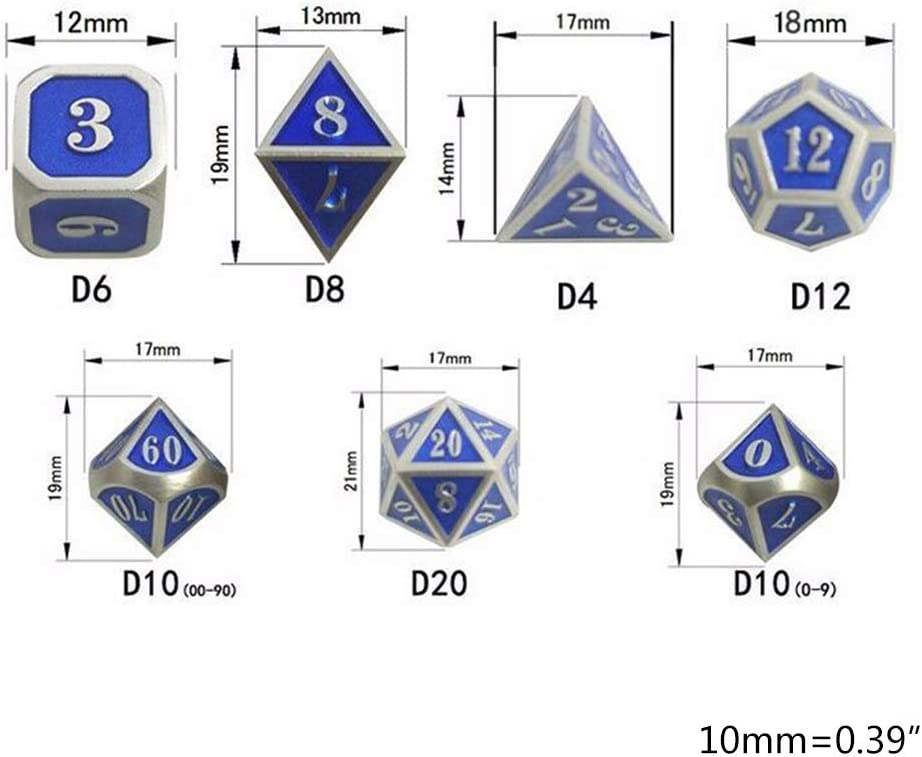 Lergo 7 Pcs//Set Mini Metal Dices Set Number Dial Desktop Table Board Game Accessories