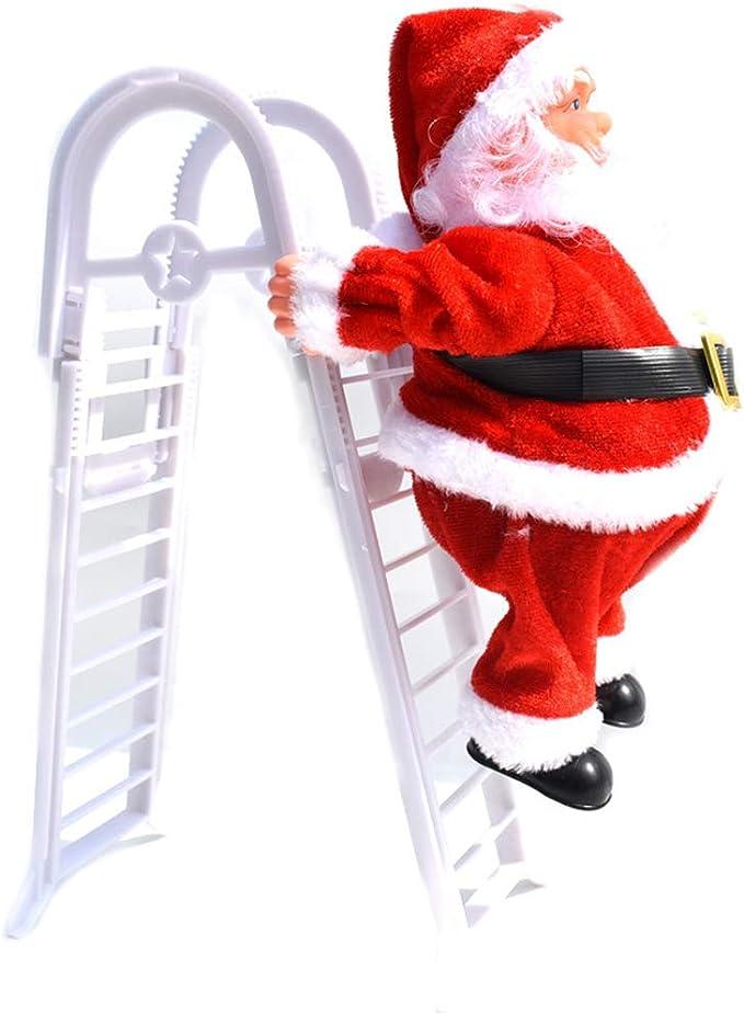WHCCL Doble Escalera eléctrica Decoraciones de Santa Claus, muñecos de música, Juguetes para niños, 3 * AA (no incluidos): Amazon.es: Hogar