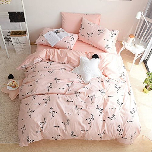 t Cover Set Flamingo Printed Pattern Comforter Bedding Cover for Girls (Queen) (Printed Cotton Duvet Set)