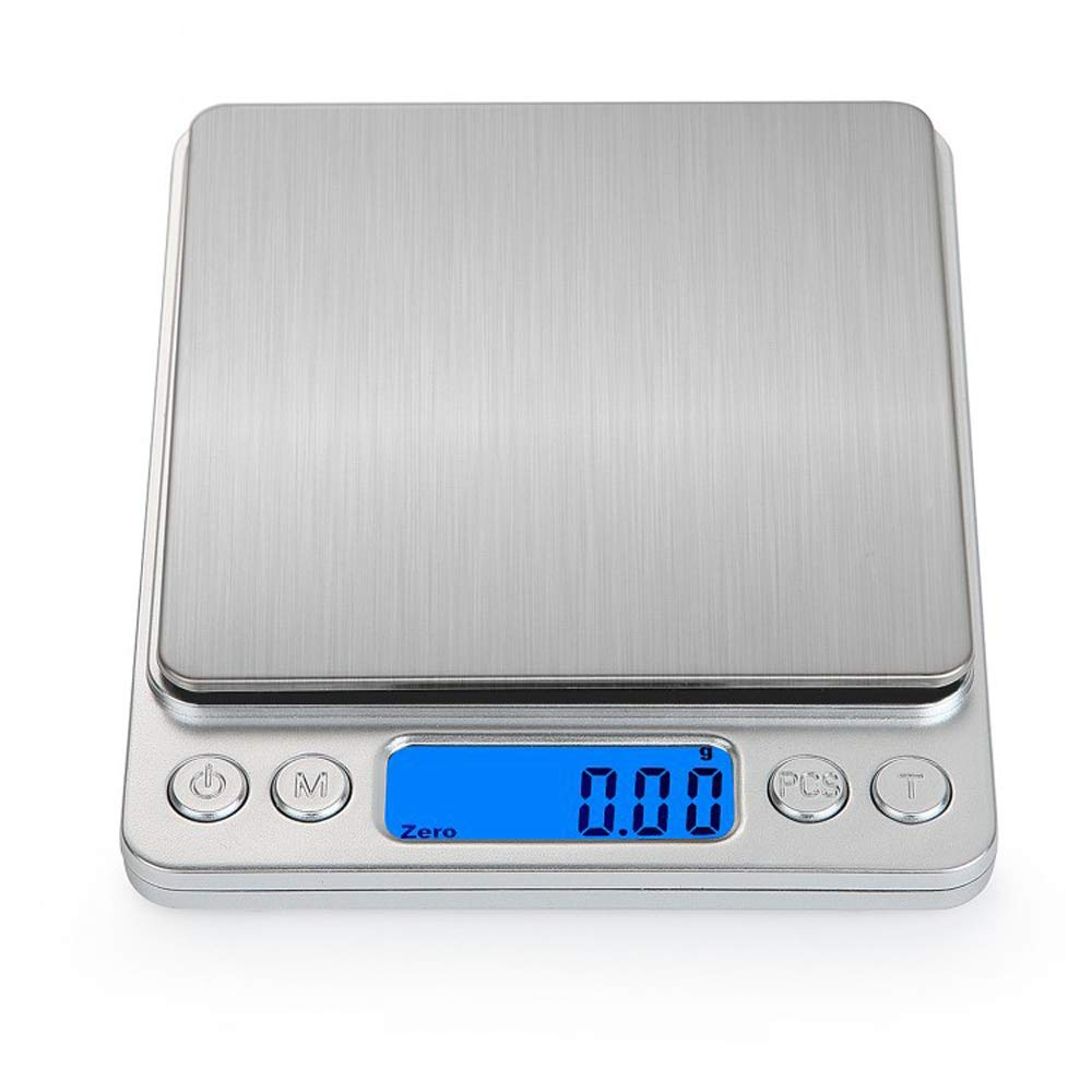 500x0.01g/3000x0.1gHigh Precision Mini Portable Electronic Scale Platform Scale Small Digital Weighing Machine Jewelry Scale Household Kitchen Baking Food Tea Weighing Balance (500g/0.01g)