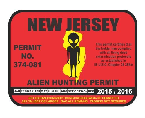 New Jersey Alien Hunting Permit License Vinyl Sticker Decal