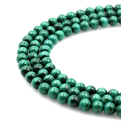 BRCbeads Natural Green Malachite Gemstone Round Loose Beads 4mm Approxi 15.5 inch 88pcs 1 Strand per Bag for Jewelry Making