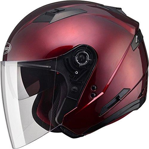 (Gmax OF77 unisex-adult open-face-helmet-style Motorcycle Street Helmet Solid (Wine Red,Large),1 Pack )