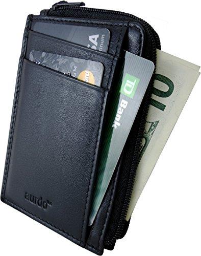 AurDo RFID Blocking Credit Card Wallet Front Pocket Small Wallets for men (Two Side Zipper Closing)