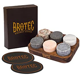 Whiskey Stones Gift Set – 6 Granite Round Beverage Chilling Drinking Stones Whiskey Rocks with 2 Extra whisky glasses coasters – Premium Sipping Rocks in Elegant Wooden Storage Tray – Bar Accessories