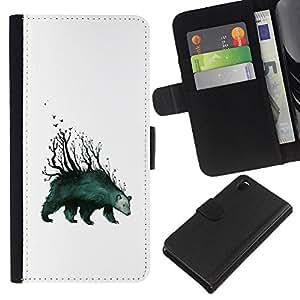 LECELL--Cuero de la tarjeta la carpeta del tirón Smartphone Slots Protección Holder For Sony Xperia Z3 D6603 -- Tenga Forrest - arte abstracto --
