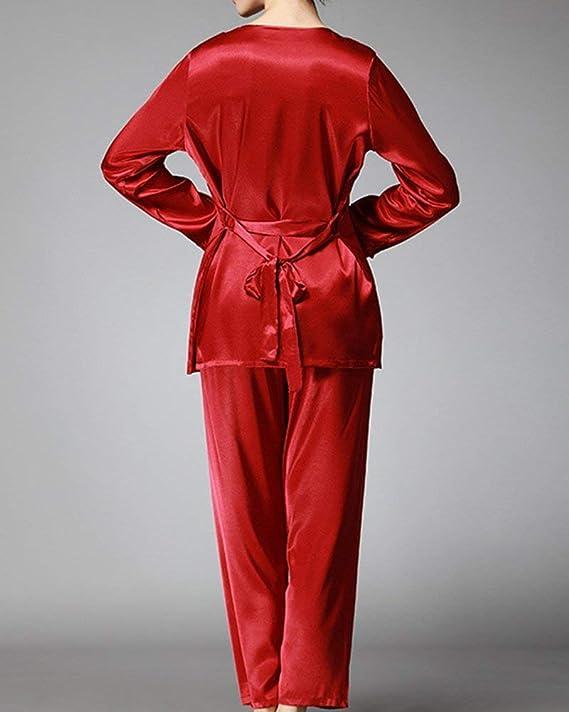 Dos Piezas Mujer Unicolor Pijama Sling Sin Tirantes Elastische Taille V-Cuello Especial Estilo Manga Larga con Lazo Batas Top Trousers: Amazon.es: Ropa y ...
