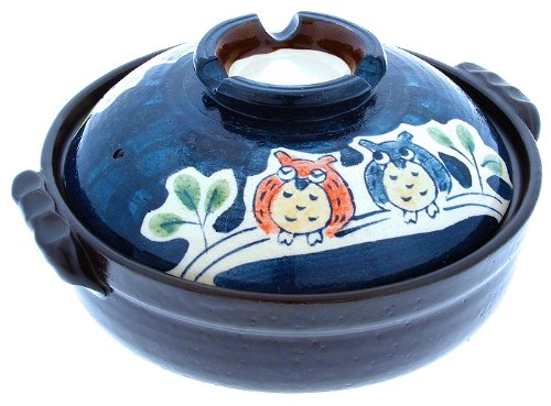 Kotobuki 190-972D Owl Family Donabe Japanese Hot Pot, 10-Inch