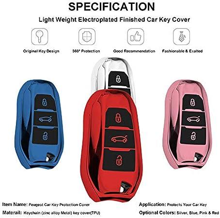 Coque en Silicone pour Cl/é Peugeot Citroen Argent Cover Housse TPU Souple en Chrome pour T/él/écommande Keyless Peugeot 108 208 308 508 Citrone C1 C3 C5 Porte-cl/é Protection