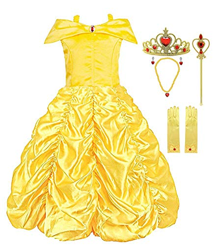 Padete Little Girls Princess Belle Yellow Party Costume Off Shoulder Dress (Yellow with Accessories, 6 years/130cm) ()