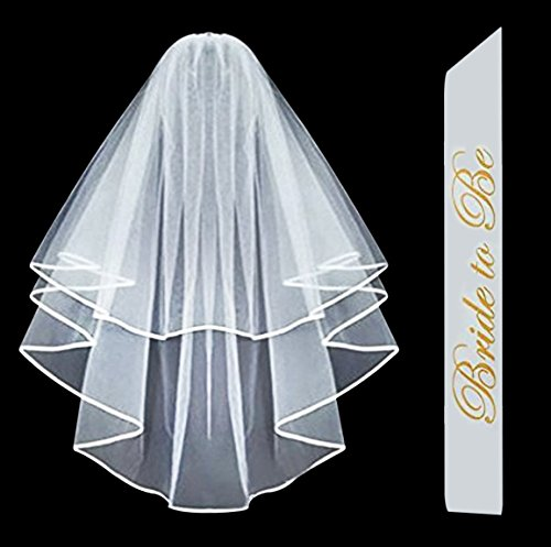 [Bachelorette Party COMBO - Sash and Veil - White Double Ribbon Edge Bridal Wedding Veil with Stay in Place Comb & Bride To Be Satin] (Hen Night Costume Accessories)