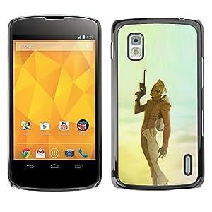 Shell-Star Arte & diseño plástico duro Fundas Cover Cubre Hard Case Cover para LG Google NEXUS 4 / Mako / E960 ( Sci Fi Movie Blue Yellow Teal Sky Gun )
