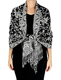 Peach Couture Reversible Exclusive Paisley Pashmina Shawl Wrap Black and White