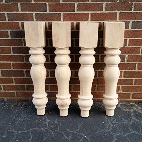 (Chunky Unfinished Farmhouse Dining Table Legs- Set of 4 Turned Legs- Design 59 inc)