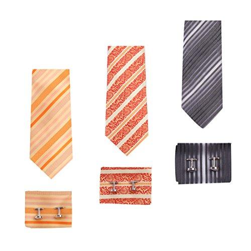 EAUF0029 Men's Striped Silk Necktie Handkerchiefs Cufflinks Present Box Set Gift Ideas for Fathers Day - 3pcs By Epoint
