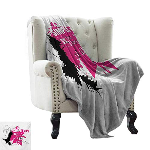 LsWOW Cool Blanket Girls,Lady Face with Makeup Simple Design Inspirational Vogue Fashion Theme Art,Black Pink Pale Grey Cozy and Durable Fabric-Machine Washable 60