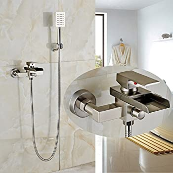 wall mount tub faucet with handheld shower. Rozin Wall Mounted Single Handle Bathtub Faucet tap Waterfall Spout with Handheld  Shower Set Brushed Nickel