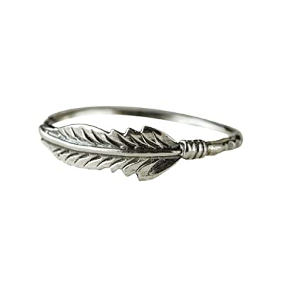 Xinantime Womens Ring Antique Jewelry Solid Sterling Silver Feather Ring Stacking Rings Bride Wedding: Clothing