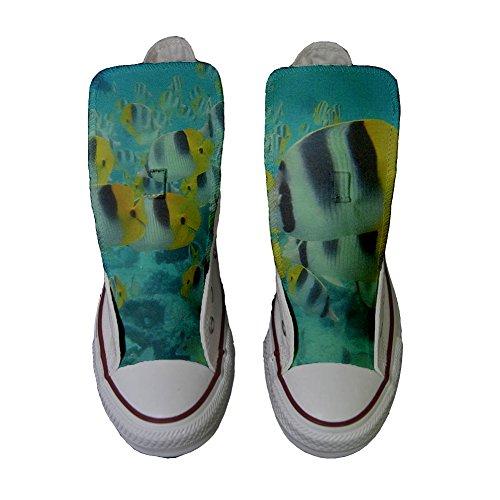 Converse Chaussures Customized Handmade Personnalisé et Colorés Poissons Imprimés Produit Unisex mys qfRwEd1q