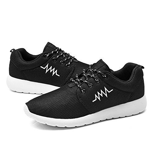 iceunicorn Zapatillas de running de malla para hombre Athletic zapatos de senderismo gimnasio deporte correr zapatos blanco y negro