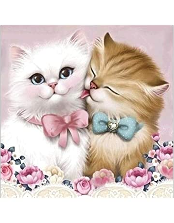LamicAR 30x30cm Two-Cat Kitten Cross Stitch Embroidery Partial Round Diamond Painting