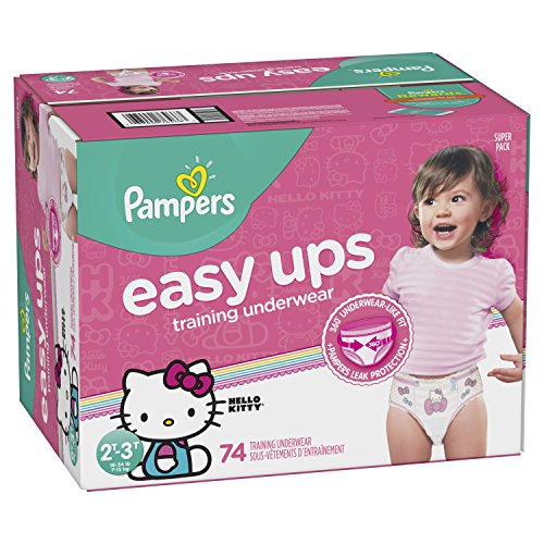 Pampers Easy Ups Training Girls Underwear, Size 4 2T-3T, 74 Count
