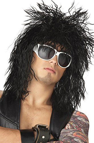 [California Costumes Rocking Dude Wig, Black, One Size] (80s Rock Costumes)