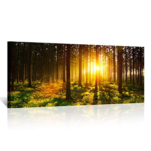 (Kreative Arts - Silent Forest in Spring with Beautiful Bright Sun Rays Canvas Prints Morning Scene Landscape Painting Giclee Artwork Printed Framed Art Work Long Pictures for Wall Decorations 20x48in)