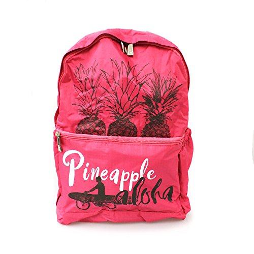 Hawaiian Druck Faltbarer Einfache Falte Rucksack in Ananas Bike Surfer Druck in Pink