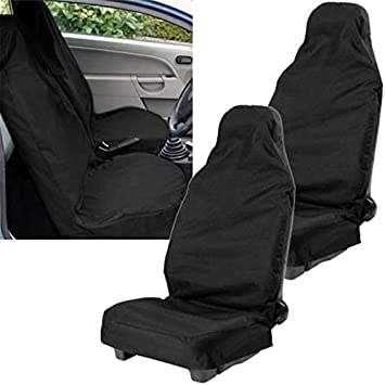 02+ PREMIUM BLACK SEAT COVERS WHITE PIPING 1-1 TRANSIT VAN CONNECT