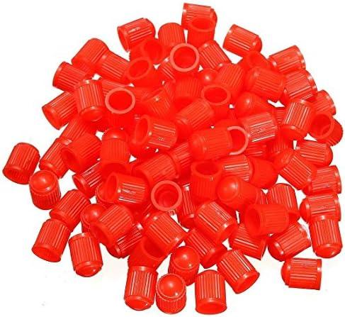 REFURBISHHOUSE 100個 プラスチックバルブキャップ タイヤキャップバルブカバー カーオートバイに適用しています レッドカラー