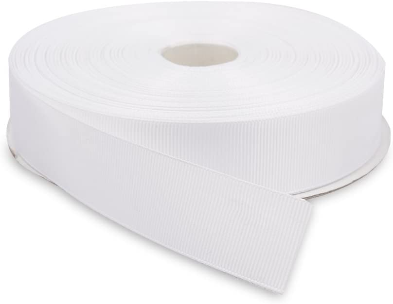 Topenca Supplies 1 Inch x 50 Yards Double Face Solid Grosgrain Ribbon Roll, White