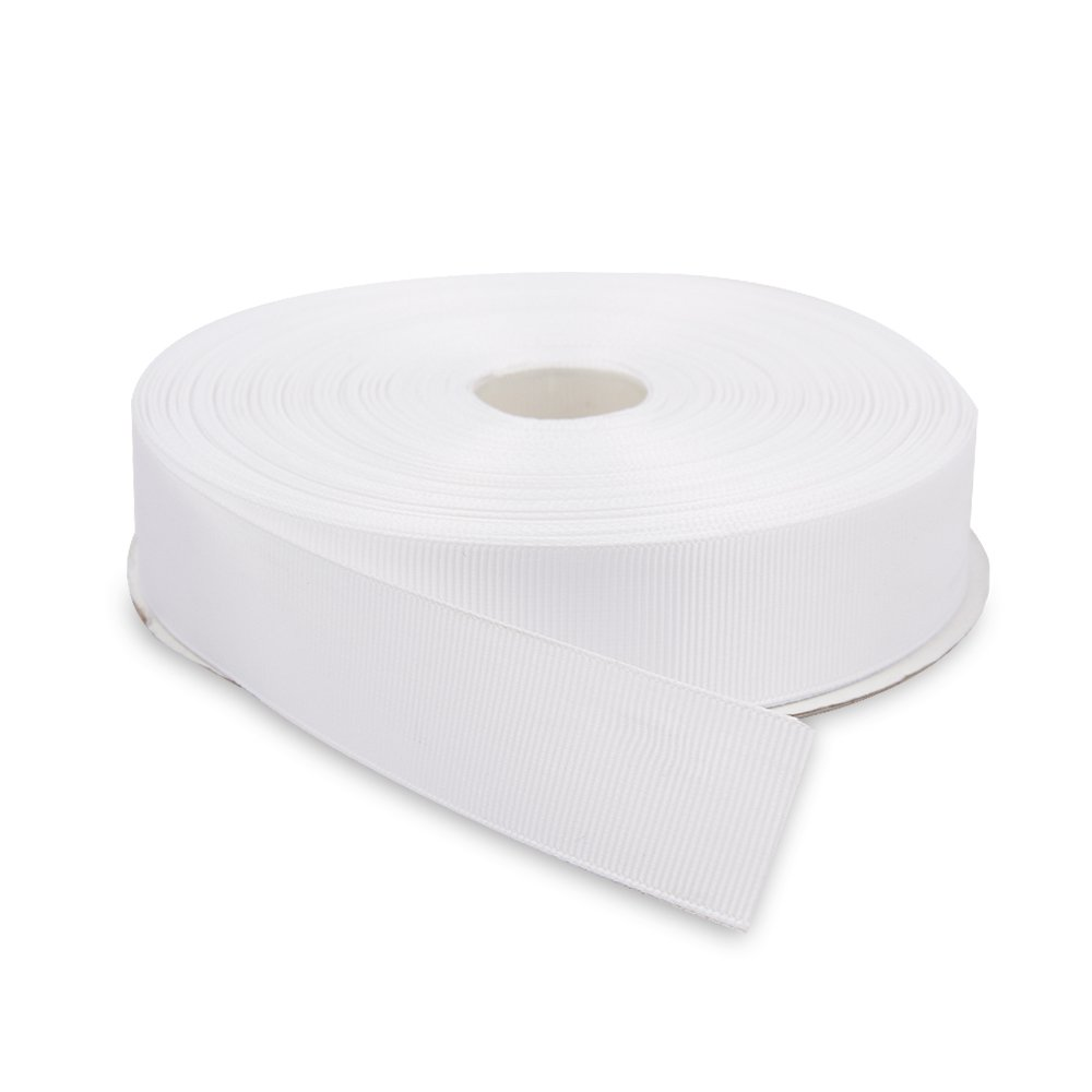 Topenca Supplies 1 Inches x 50 Yards Double Face Solid Grosgrain Ribbon Roll, White