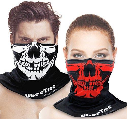 2 Packs Safety Reflective Riding Skull Face Mask Bandana Fishing Neck Gaiter Sun UV Dust Protection Windproof Ski Face Cover by UbeeTree