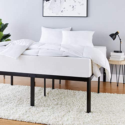 """AmazonFundamentals Heavy Duty Non-Slip Bed Frame with Steel Slats, Easy Assembly - 18"""" H, (Queen)"""