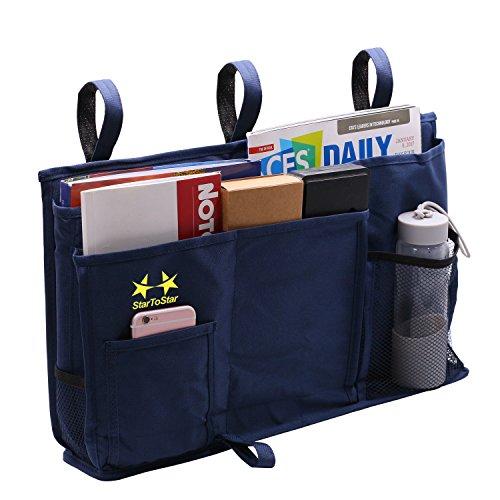 Startostar 8 Pocket Bedside Storage Bag Caddy Hanging Organizer Improved Strap Design with Bigger Loading Capacity - Best for Headboards, Bed Rails, Dorm Rooms,Bunk Beds, Hospital Bed
