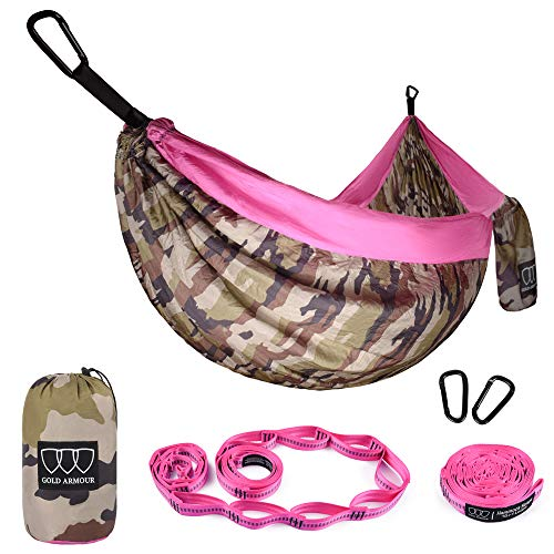 Gold Armour Camping Hammock - XL Double Parachute Camping Hammock (2 Tree Straps 16 LOOPS/10 FT Included) Lightweight Nylon Portable Hammock, Best Parachute Double Hammock (Camouflage/Pink) ()