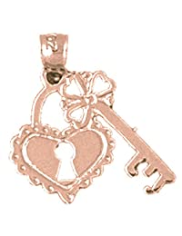 14K Rose Gold Heart Lock And Key Pendant Necklace - 19 mm