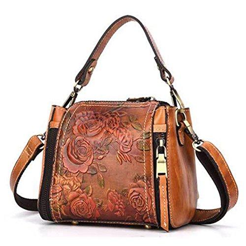 Embossed Bag (Top Handle Satchel Handbags, JOSEKO New Retro Genuine Leather Bucket Handbag Hand Embossed Craft Flower Crossbody Bag Coffee 6.89 inch(L) x 3.94 inch(W) x 6.69 inch(H))