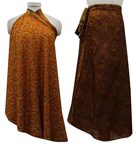 et Wrap Soie Rouge rversible Check Beach Orange Saree Femmes Brown Dress Imprimer Vintage Pure Les Summer Indianbeautifulart wq8vSXzZS
